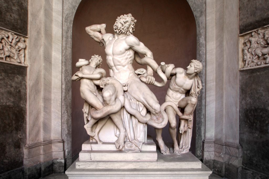 The statue of the Laocoonte hosted in the Vatican Museums