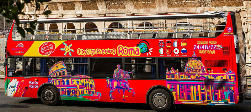 A tour of Rome on hop on hop off buses